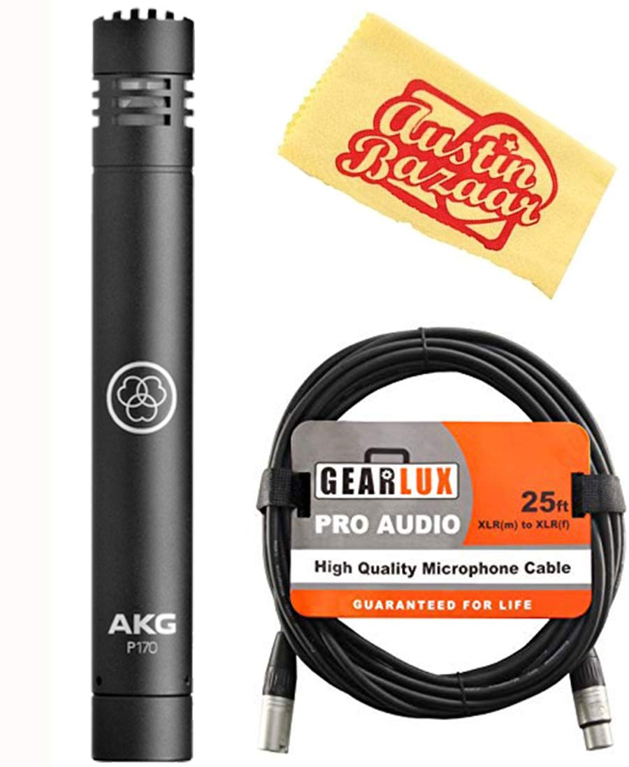 AKG P170 Professional Instrumental Microphone Bundle with XLR Cable and Austin Bazaar Polishing Cloth