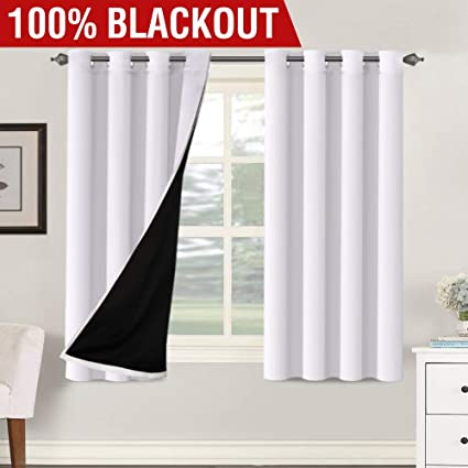 Thermal Insulated 100% Blackout Light Blocking Curtains Bedroom Curtains 2  Panel Sets Noise Reducing Performance Grommet Drape with Black Liner, ...