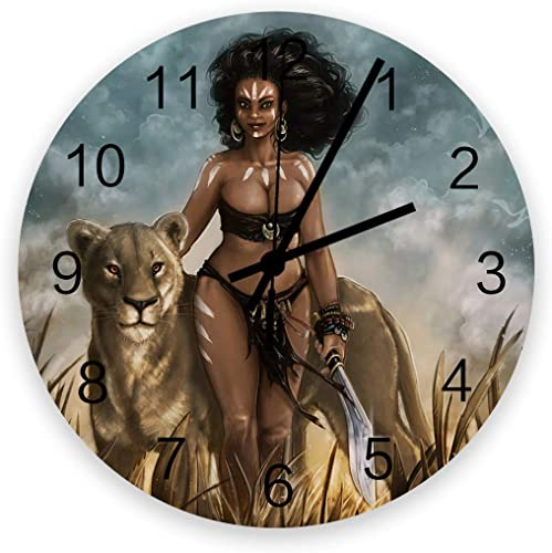 Fandim Fly Wall Clock Battery Operated Non-Ticking,Beautiful African Women and Lioness 11.8 inch Frameless Round Wood Wall Clocks