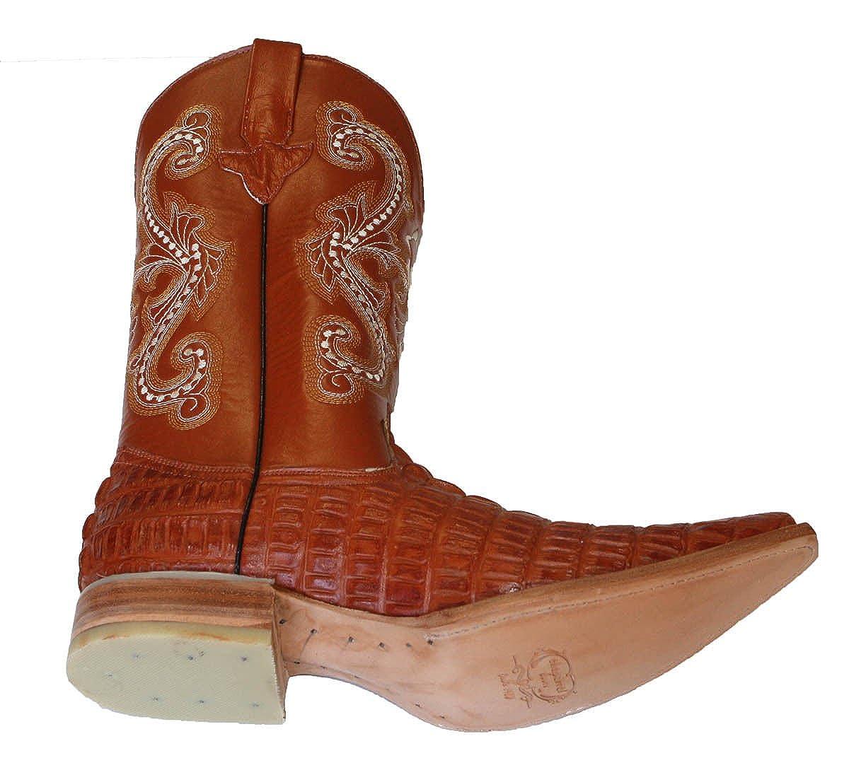 Amazon.com | Dona Michi Cowboy Boots Leather Crocodile Back Cut Cowboy Handmade Luxury Boots | Western