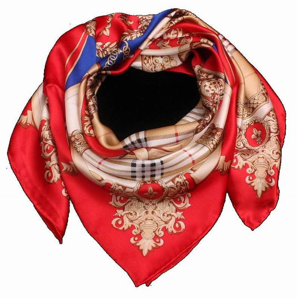 MTX Ltd European and American Street Curling Square Silk Female Decoration Geometric Square Curling Scarf Silk Scarf Otoño and Invierno Outdoor Multi-Functional Fgreyion Trend Wild Warm Shawl Scarf Gift, Rojo 641061