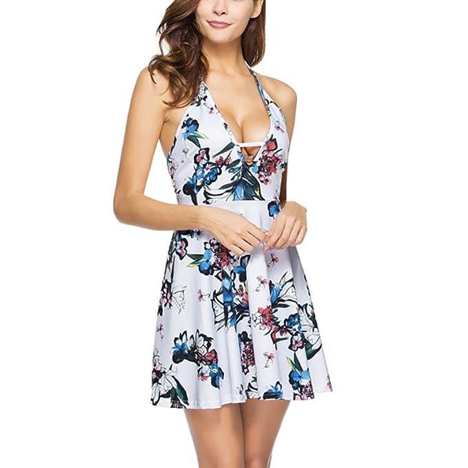 buy online b94ba 612a4 CLOOM Vestito Donna Estivo, Donne Casual Estive Fiore ...