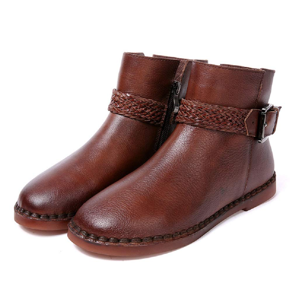 ZHRUI Buckle Stiefel Damen Lederschuhe Braun Zipper Flache Lederschuhe Damen (Farbe   Braun, Größe   EU 40) 9c35b3