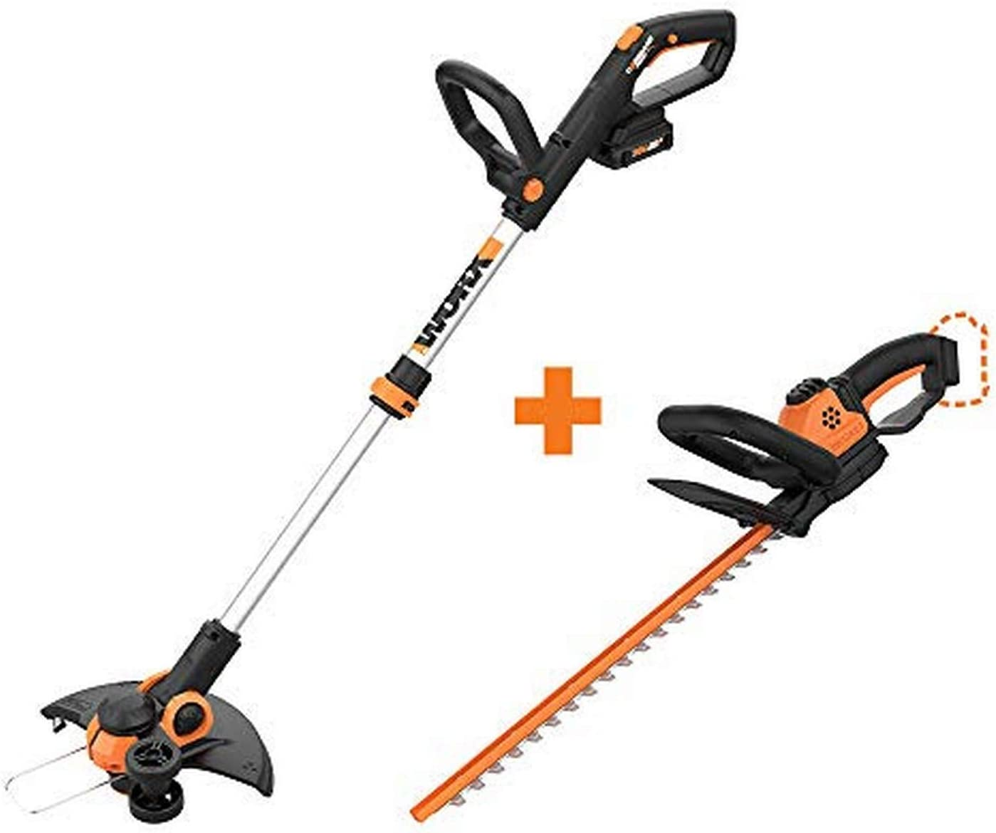 "WORX WG163 GT 3.0 20V PowerShare 12"" Cordless String Trimmer & Edger with Power Share 22-inch Cordless Hedge Trimmer, Bare Tool Only"