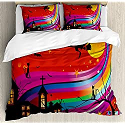 Decorative 3 Piece Bedding Set with 2 Pillow Shams Antler Decor King Size Duvet Cover Set by Ambesonne Multicolor Black Deer Horns with Pink Roses Floral Wreath Design in Watercolors Wildlife