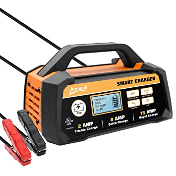 Amazon Com Ampeak 2 8 15a 12v Smart Battery Charger Maintainer