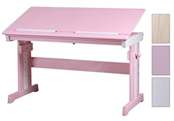 Sixbros bureau dŽenfants en bois de pin massif couleur blanc rose
