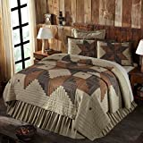 1 Piece Queen, Stylish Elegant Classic Patchwork Pattern Quilt, Traditional Cabin Look Checkered Plaid Design, Contemporary Lodge Themed, Damask Reversible Bedding, Adorable Black, Tan Color Unisex