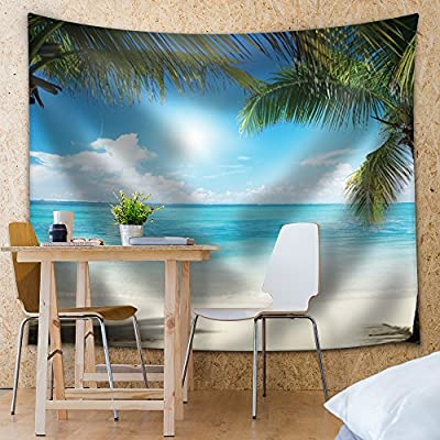 Classic Artwork, Alluring Expert Craftsmanship, Palm Trees in an Island Framing The Ocean on a Sunny Day
