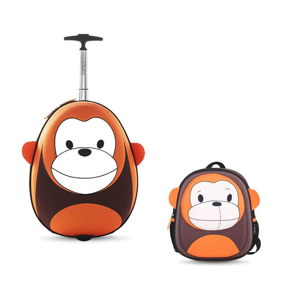 i-baby 2PC Kids Luggage Set Toddler Suitcase Sets 3D Cartoon Rolling Luggage plus A 3D Animal Backpack Waterproof Children Travel Carry On Luggage Set (Orange Monkey)