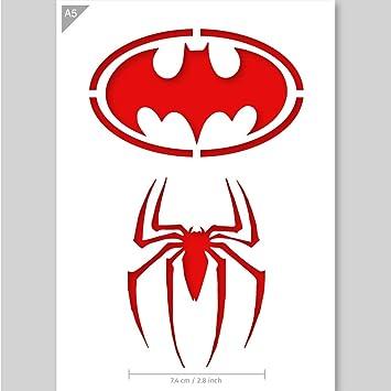 Batman und Spiderman Logo Schablone - Karte oder Plastik - A5 14.8 x ...