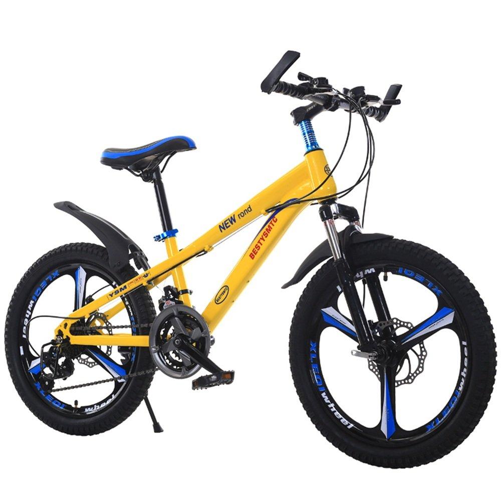 美しい 家子供の自転車20インチのスピードマウンテンバイク6-10-11-12歳の少年女子二重ディスクブレーキ(多色オプション) (色 : イエロー いえろ゜) B07D1PH6WS イエロー いえろ゜ イエロー いえろ゜