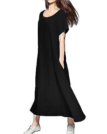 9b4b774bb4 Kidsform Women Maxi Dress Summer Casual Short Sleeve Loose Plain Party Long  Dress with Pockets Black Size 2XL/UK 18: Amazon.co.uk: Clothing