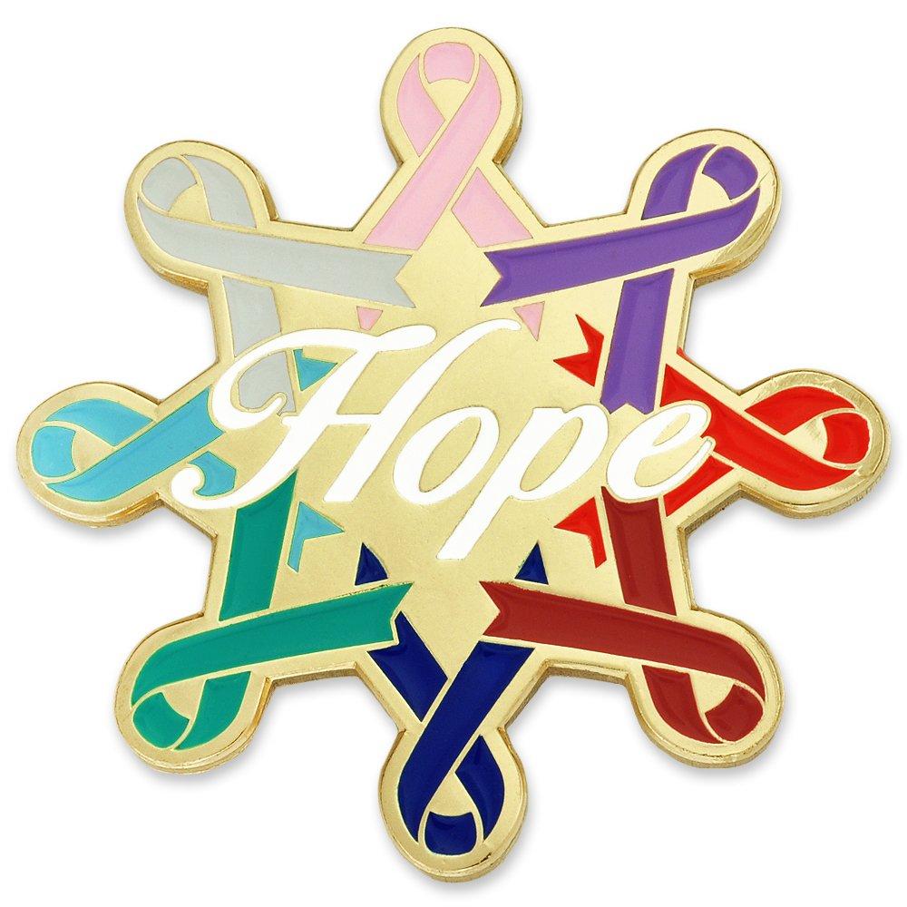 PinMart Cancer Awareness Ribbons Hope Enamel Lapel Pin