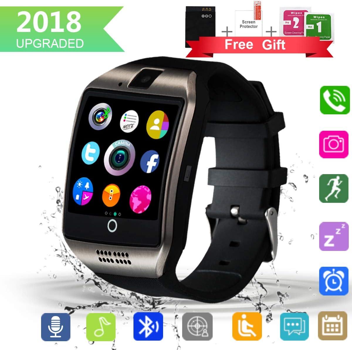Smartwatch, Impermeable Reloj Inteligente Redondo con Sim Tarjeta Camara Whatsapp, Bluetooth Tactil Telefono Smart Watch Smartwatches para Android iOS iPhone Samsung Hombre Mujer Niño Niña