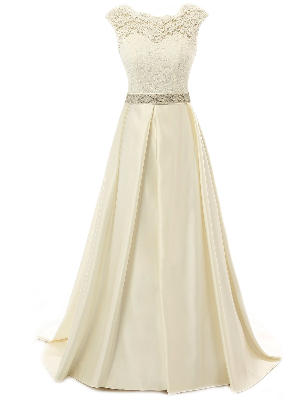 JAEDEN Vintage Wedding Dress For Bride Lace Simple Backless Bridal Gown Cap Sleeve Champagne US12B