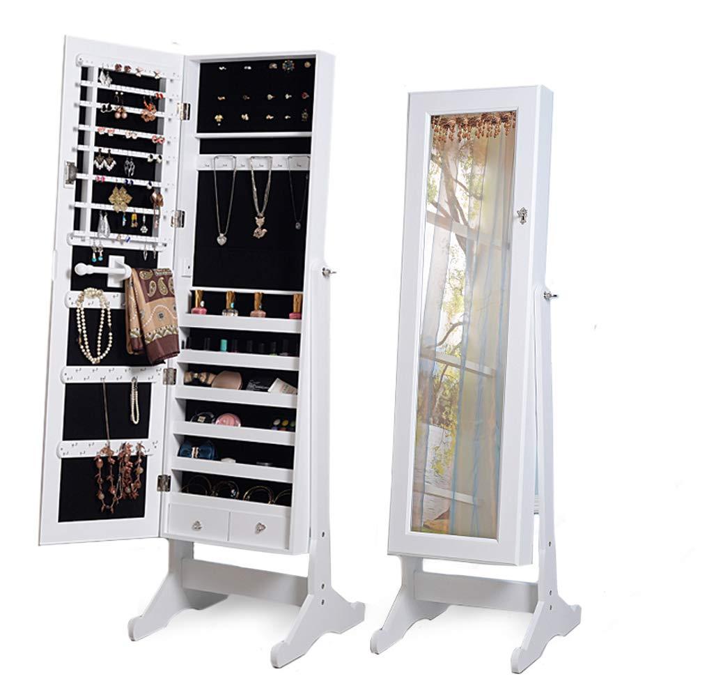 Cadorabo Intirilife - Elegante Armadio portagioie con Anta a Specchio con Lucchetto in Bianco - Dimensioni: 146 x 41 x 36.5