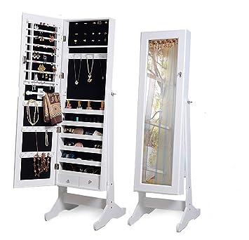 convient aux hommes/femmes marque populaire les ventes en gros Intirilife Armoire à Bijoux 146x41x36.5 cm en Blanc ...
