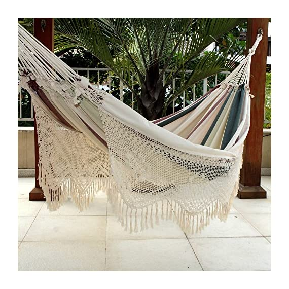 NOVICA Dark Green Brown White Stripe 2 Person Cotton Hammock with Crochet Fringe, Joyous Earth' (Double) - Authentic: an original NOVICA fair trade product in association with National Geographic Certified: comes with an official NOVICA Story Card certifying quality & authenticity Product info: 100% cotton - patio-furniture, patio, hammocks - 61OV4CjvyZL. SS570  -