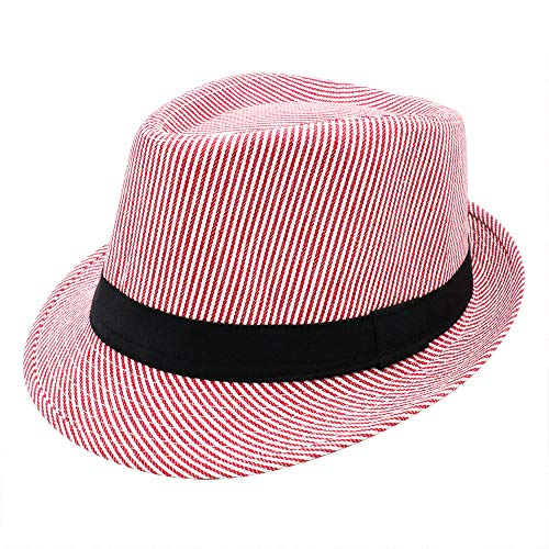 PanPacSight Unisex Cotton Pinstripe Stingy Short Brim Fedora Hat Gangster Cuban Style Cap Spring Summer Pink -
