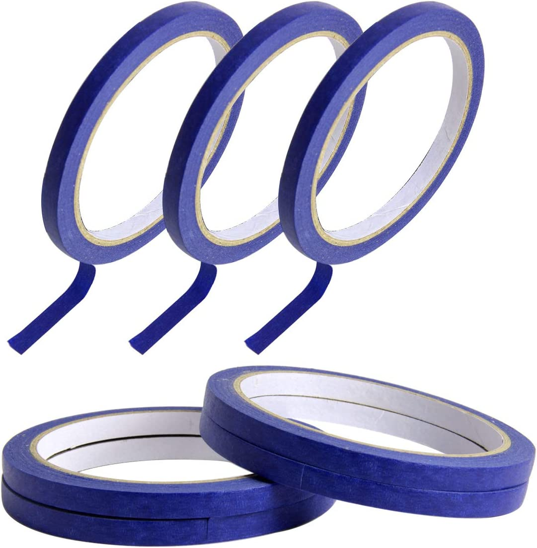 SBYURE 6 Pack 0.27 Inch Blue Painters Tape,Easy Removal Thin Narrow Finishing Masking Tape Painting Tape Wall Tape,Good Adhesive and No Residue,132 Yards