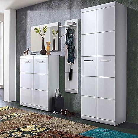 Garderobe 4 Teilig Hochglanz Weiß Garderobenset