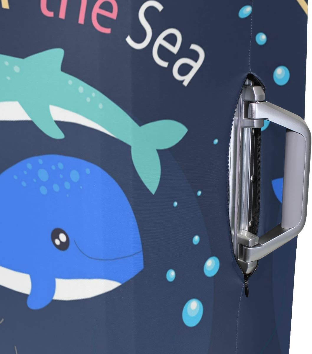 Baggage Covers Cartoon Dolphin Fish Sea Blck Blue Washable Protective Case