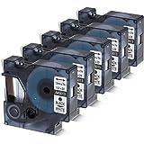 5er Schriftband Kompatibel für Dymo D1 45013 S0720530 Schwarz auf Weiß 12mm x 7m für DYMO LabelPOINT & LabelManager LM160/LM210D/LM260P/LM280/LM360D/LM420P