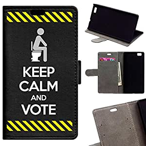 BeCool - Funda carcasa tipo [ Libro ] Huawei P8 Lite [ Función Soporte ] Keep Calm and Vote