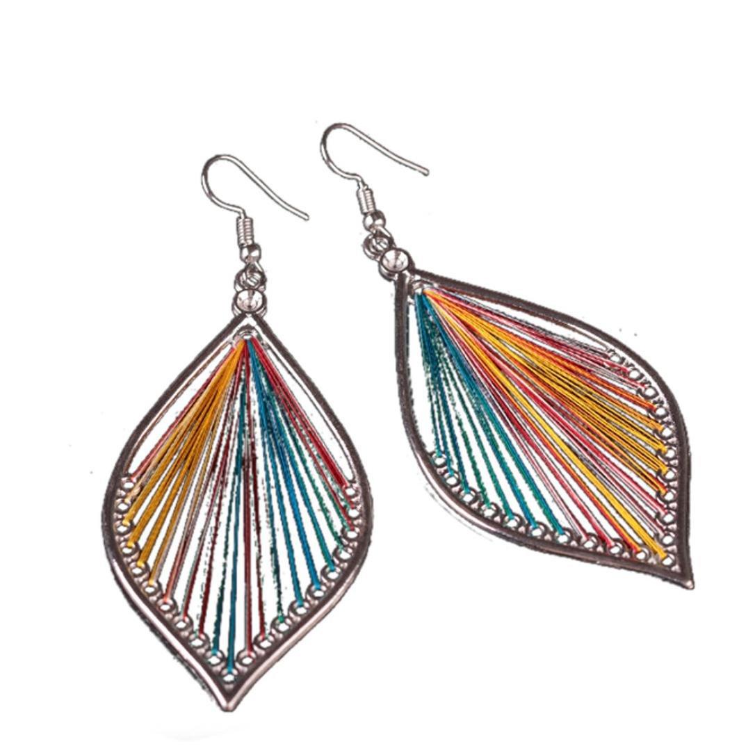 Elogoog Women's Girls Elegant Jewellery Bohemia Ethnic Ellipse Dangle Stud Earrings Eardrop (Multicolor)