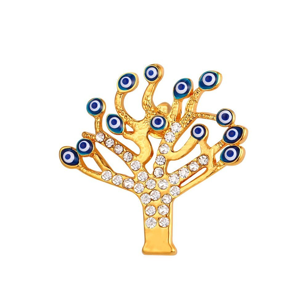 U7 Lucky Evil Eye Tree of Life Brooch 18K Gold Plated Tie Hat Bag Brooches Lapel Pin Women Men by U7 (Image #1)