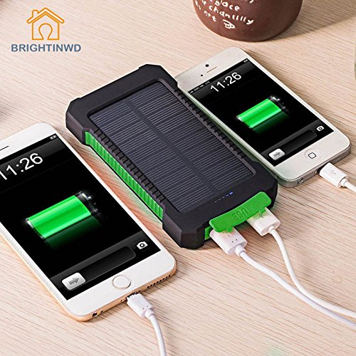 UNAKIM--Waterproof Solar Power Bank 10000mAh Dual USB LED Cell Phone Charger by UNAKIM