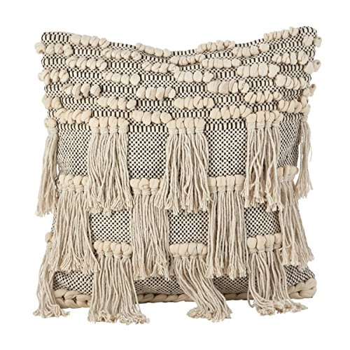 Fennco Styles Moroccan Wedding Blanket Style Design Fringe Cotton Down Filled Throw Pillow 18
