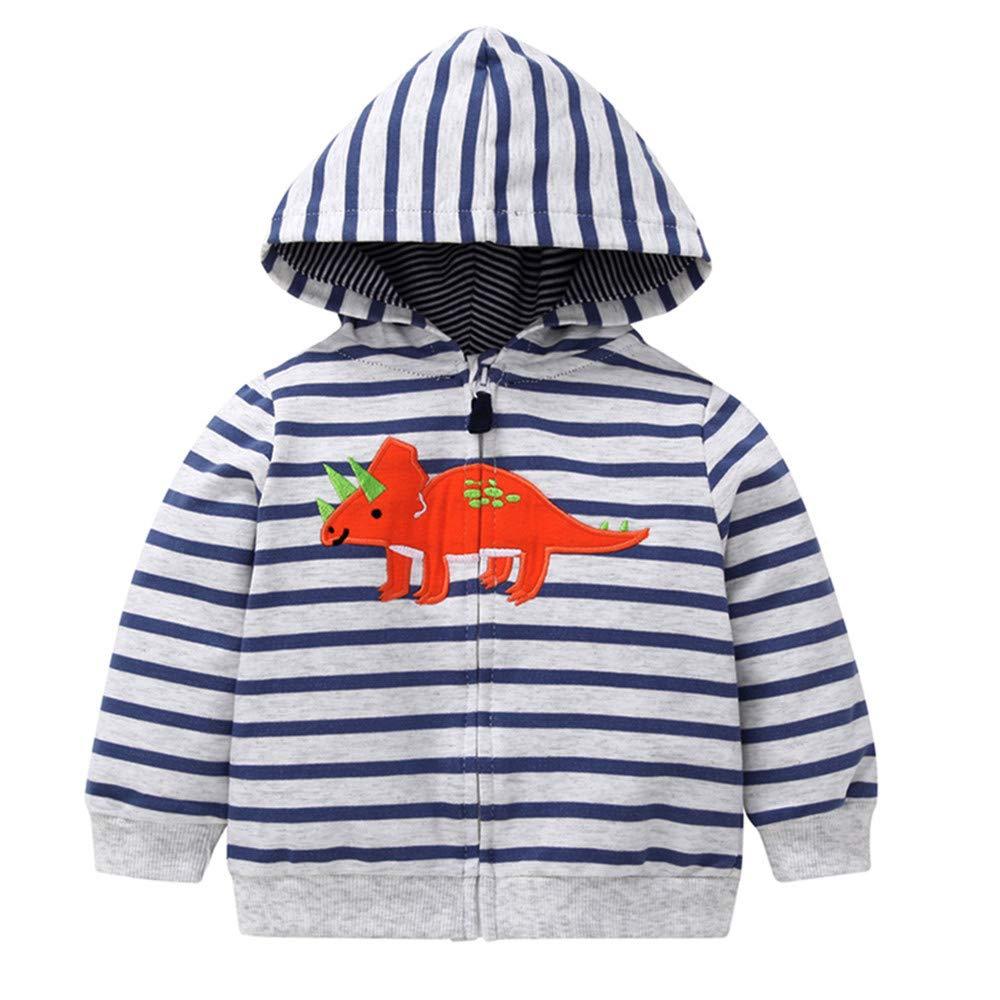 Buoyee Toddler Baby Boys Cute Dinosaur Children Stripe Coat Autumn Winter Kids Jacket Outerwear