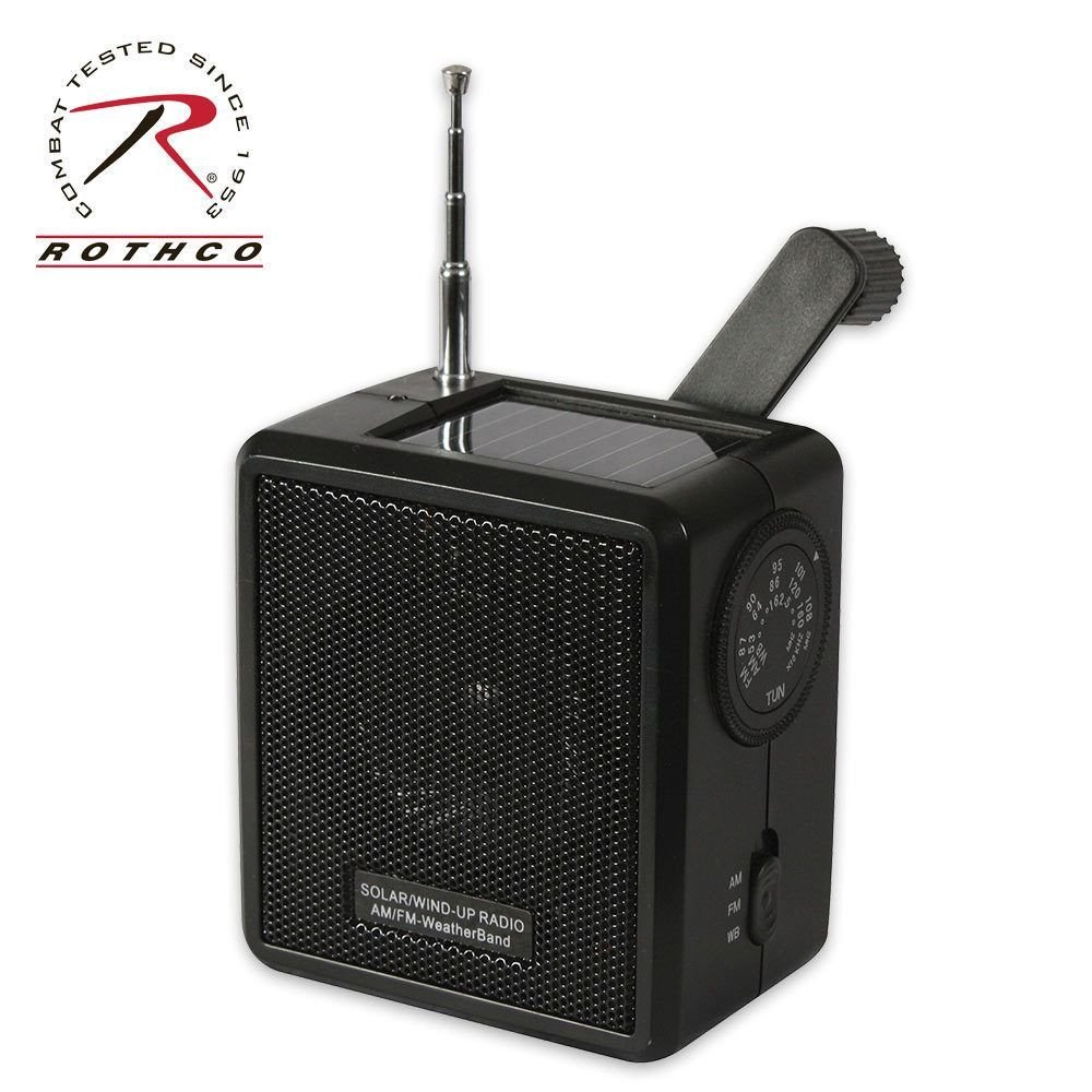 Rothco Solar/Wind Up Radio, Black