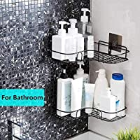 Rixim Stainless Steel Wall Mounted Bathroom Shower Corner Self Organizer Storage Wall Hanging Shower Caddy Rack