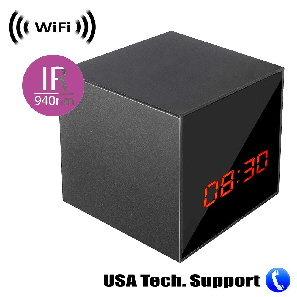 Spy Camera with WiFi Digital IP Signal, Recording & Remote Internet Access, Camera Hidden in a Digital Cube Clock with Night Vision