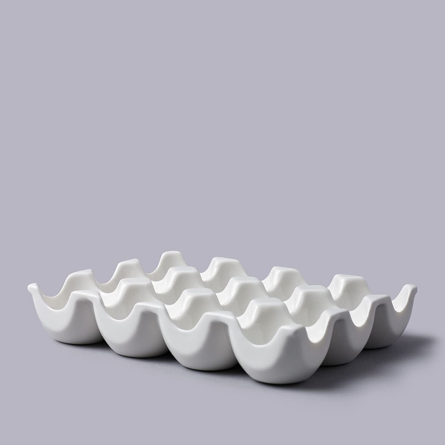 CKS White Ceramic Egg Dish Holds 12 Eggs