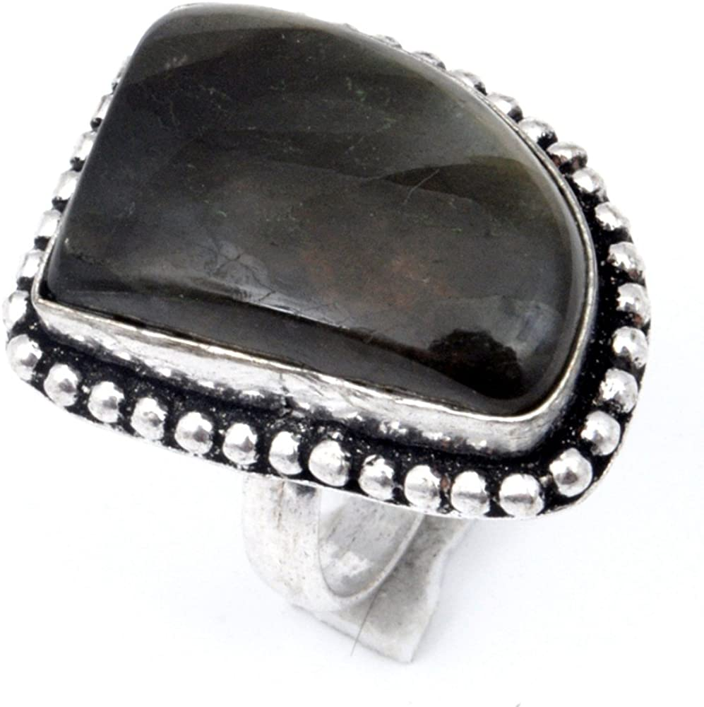 Gift Jewelry Black Labradorite Sterling Silver Overlay Ring Size 6.25 US Handmade Jewelry