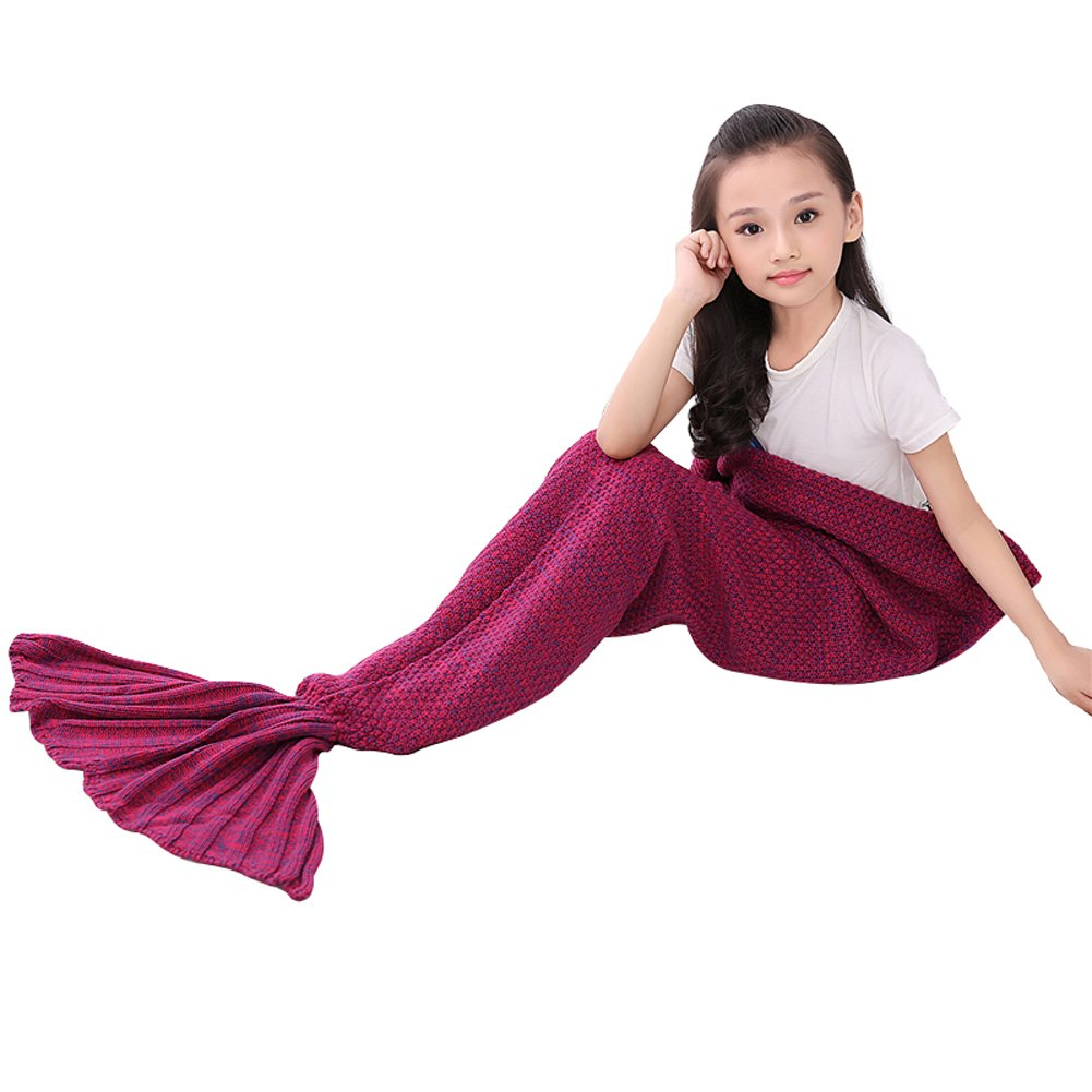 Roluck Mermaid Tail Blanket Handmade Warm Keeper Autumn Winter Blanket for Girls (Rose Red)