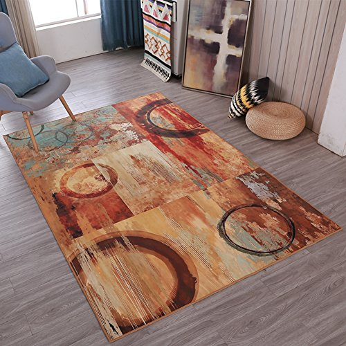 Abstract Feeling Home Rugs Art - MeMoreCool No Fading Anti-slipping Modern Patterns Living Room Tea Table Carpets 63 X 91 Inch by MeMoreCool