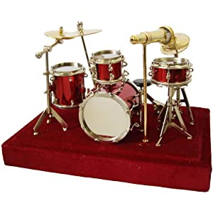 Red Drum Set Music Instrument Miniature Replica on Stand, Size 5 x 5 x 4 in.