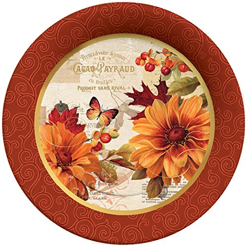 C.R. Gibson 8 Count Decorative Paper Dinner Plates, Easy Clean Up, Measures 10.5