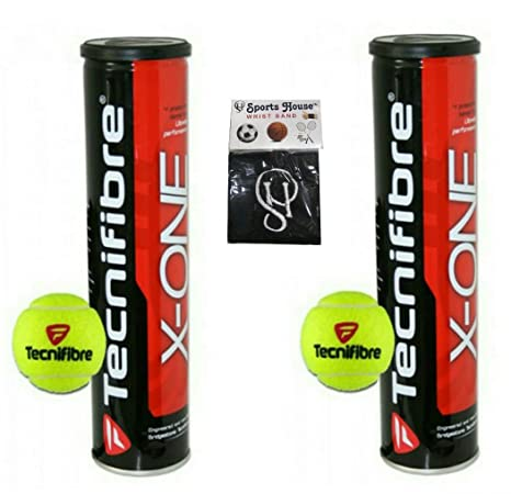 5043b6e7ef7 Buy TECNIFIBRE X ONE Tennis Balls (Pack of 8) - 2 Box (with Sports House  Cotton Wrist Band) Online at Low Prices in India - Amazon.in