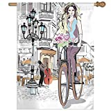 HUANGLING Girl With Bike And Roses In A Street Old Town Musician Romantic Tour In City Home Flag Garden Flag Demonstrations Flag Family Party Flag Match Flag 27''x37''