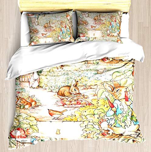 The World of Beatrix Potter Large Vintage Illustration - Duvet Cover Set Soft Comforter Cover Pillowcase Bed Set Unique Printed Floral Pattern Design Duvet Covers Blanket Cover Twin/XL Size