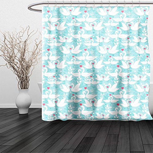 HAIXIA Shower Curtain Swan Swans in Love Paisley Floral Romantic Pastel Color with Hearts Leaves Dandelions Soft Blue White