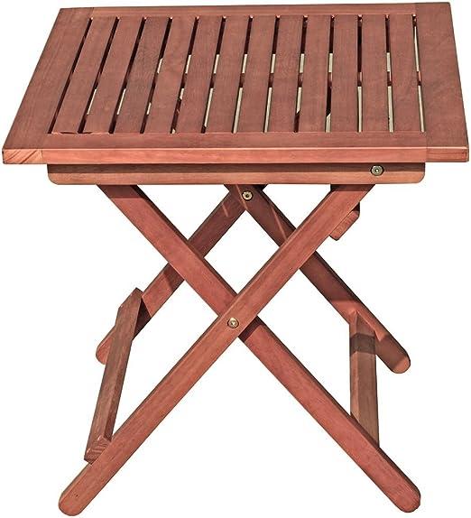 Mesa de jardín Garden Pleasure Berea 50 x 50 cm, mesa plegable de terraza, balcón, mesa de eucalipto plegable, de madera: Amazon.es: Jardín