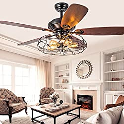 "Industrial 42"" Fan Semi Flush Ceiling Light - LITFAD Antique Vintage Retro Ceiling Fan Chandelier Cage Pendant Light in in Rustic Style through Remote control"