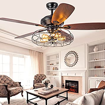 Industrial 42 fan semi flush ceiling light litfad antique industrial 42quot fan semi flush ceiling light litfad antique vintage retro ceiling fan chandelier mozeypictures Images